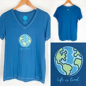 Life is Good Shirt M Blue Earth Globe New